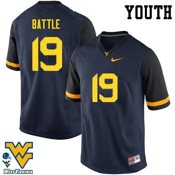 Youth #19 Elijah Battle West Virginia Mountaineers College Football Jerseys-Navy